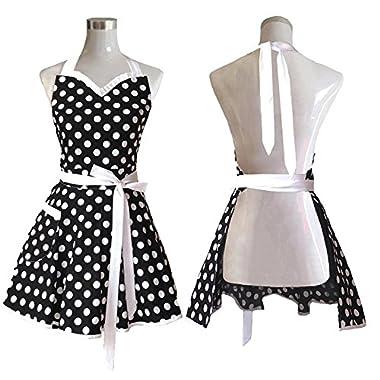 Lovely Sweetheart Black Retro Kitchen Aprons Woman Girl Cotton Polka Dot Cooking Salon Pinafore Vintage Apron Dress Christmas