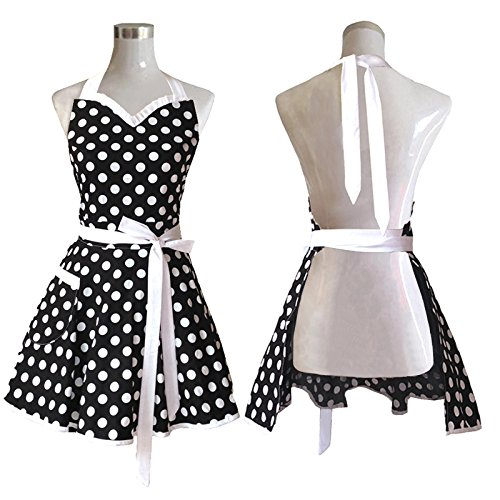 Hyzrz Lovely Sweetheart Black Retro Kitchen Aprons Woman Girl Cotton Polka Dot Cooking Salon Pinafore Vintage Apron Dress Gift (50s Aprons For Women)