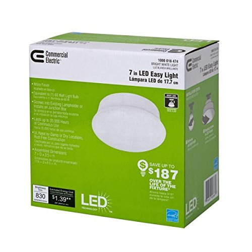 Amazon commercial electric commercial electric model 546062xx 1 light 7 in white led easy aloadofball Image collections