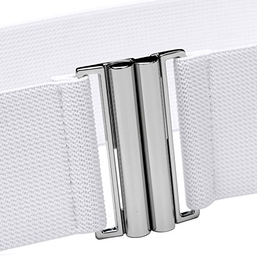 "Syuer Womens Wide Elastic Waist Belt Cinch Belt Trimmer Stretch Waistband (L-XL (30""-36""), White (Silver Buckle))"