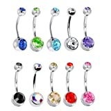 10 Belly Button Ring Lot Double Jeweled Belly Rings Surgical Steel 14 Gauge Crystal Gem (10 Pieces)