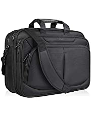 """KROSER Laptop Bag for 17"""" Laptop Briefcase Water-Repellent Expandable Computer Bag Business Messenger Bag Shoulder Bag for School/Travel/Women/Men-Black"""