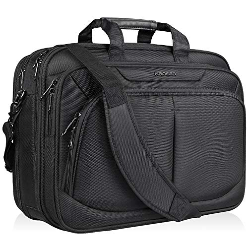 Leather Expandable Briefcase Soft - KROSER 17.1