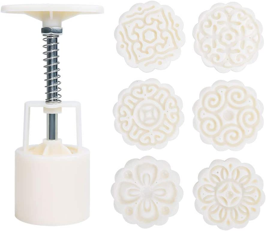 Cookie Stamp, McoMce 50g Mooncake Mold with 6 Stamps, Flowers Design Cookie Stamp Moon Cake Mold Stamps - Mid Autumn Festival Cookies Cutters - DIY Decoration Mooncake Press Molds (White)