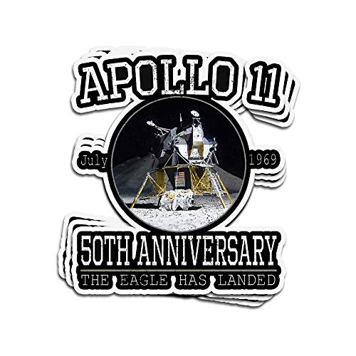 VFreeM 3 PCs Stickers Apollo 11 50Th Anniversary The Eagle Has Landed Apollo Lunar Module 4 × 3 Inch Die-Cut Wall Decals for Laptop Window (The Three Astronauts That Landed On The Moon)
