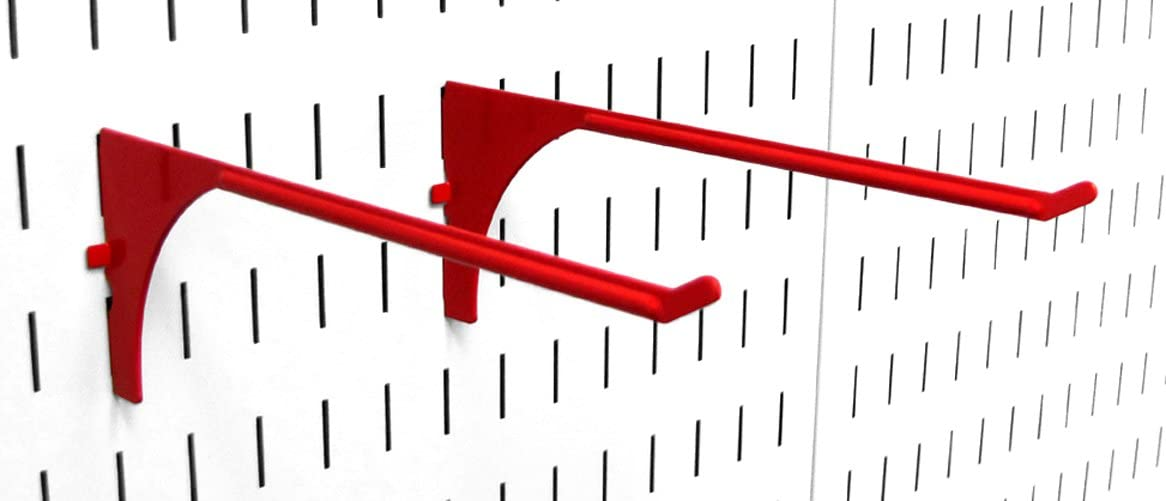 Wall Control Pegboard 9in Reach Extended Slotted Hook Pair - Slotted Metal Pegboard Hooks for Wall Control Pegboard and Slotted Tool Board – Red