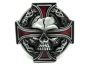 7248e2fbc005 Tête de mort et croix celtique Biker Boucle de ceinture, Red, 80mm Wide 80mm