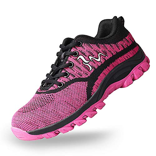 SUADEX Steel Toe Shoes for Men and Women Industrial Construction Work Safety Shoes Sneakers, Outdoor Hiking Trekking Trail Composite Shoes 118-Pink Size 5.5 Women / 3 Men