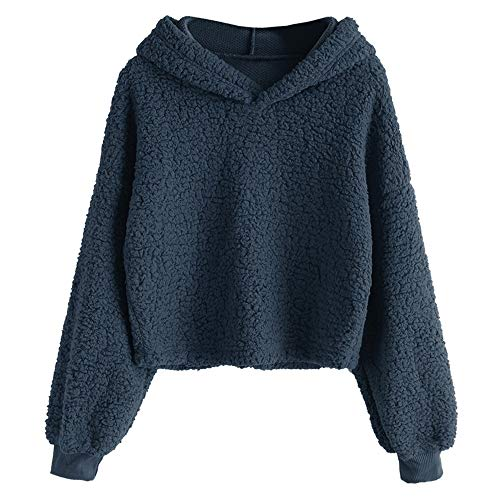 - ZAFUL Women's Fuzzy Faux Fur Oversized Pullover Crop Hoodie Sweatshirt (Cadetblue, S)