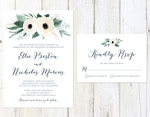 Floral Wedding Invitation, White Flowers Wedding Invitation, Greenery and White Wedding, Navy Blue and Greenery Invitation by Alexa Nelson Prints