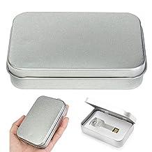Set of 2 Metal Slide Top Tin Higen Lid Small Empty Silver Flip Metal Storage Box Case Organizer for Money Coin Candy Keys (Silver)