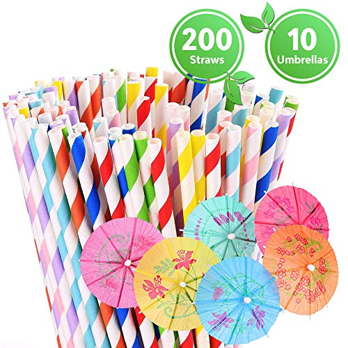 Paper Straws Biodegradable - Eco Friendly Straws - Box of 200 - Also Includes 10 Paper Cocktail Umbrellas - Drinking Straws for Smoothies, Juices and Party (Rainbow paper straws + paper umbrellas)