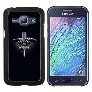 LECELL--Funda protectora / Cubierta / Piel For Samsung Galaxy J1 J100 -- Noruega Viking Espada --