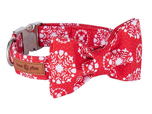 Lionet Paws Christmas Dog Collar with Bowtie Durable Adjustable Handmade Comfortable Cotton Bowtie Dog Collar Cat Collar with Metal Buckle for Small Dogs Cats,Party,Festival,Holiday Style,Neck 10-16in