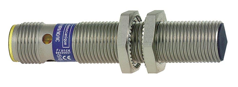 Telemecanique XS512B1PAM12 Optimum Series Inductive Proximity Sensor, Heavy-Duty, Metal 12-mm Barrel, 3-Wire DC PNP Wiring, PNP Input, NO Output, M12 Micro-Connector