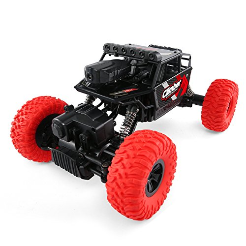 BTG 2.4G 4WD Off-Road Vehicle with Dual Control Mode and HD Camera, Four-Drive RC Rally Car 1:18 WIFI FPV 8KM/H Max Speed Driving – RC Car Toy Gift for Children (RED)