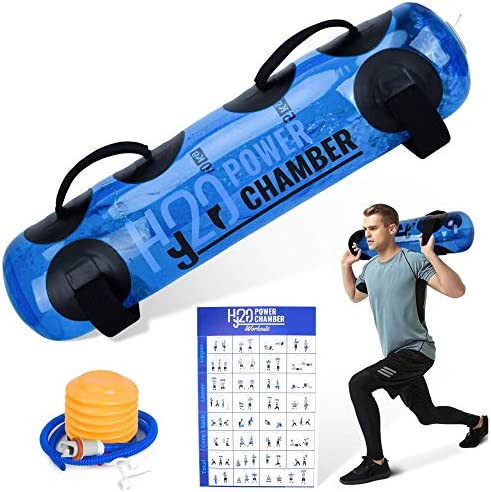 Hydro Power Chamber Aqua Bag - Fitness Sandbag with Water, Adjustable Weight, Portable Home Gym Equipment for Full Body Core and Balance Training, Complimentary Workout Chart Included