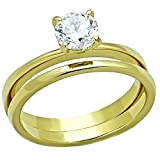 Shaniqua: 0.75ct Ice on Fire CZ 2 Pc. Wedding Ring Set 316 Steel IP Gold-tone Finish, 3241 sz 6.0
