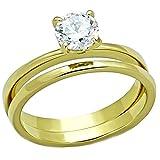 1000 jewels wedding sets - Shaniqua: 0.75ct Ice on Fire CZ 2 Pc. Wedding Ring Set 316 Steel IP Gold-tone Finish, 3241 sz 6.0