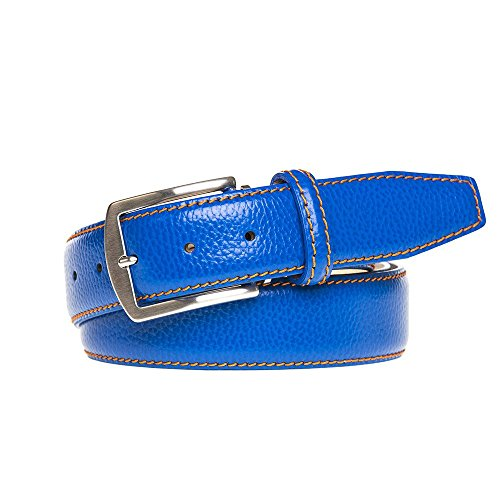 Bright Blue Italian Pebble Leather Belt by Roger Ximenez: Bespoke Maker of Fine Leather Goods
