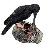 Pacific Giftware Halloween Raven on Zombie Skull Statue Figurine, Black