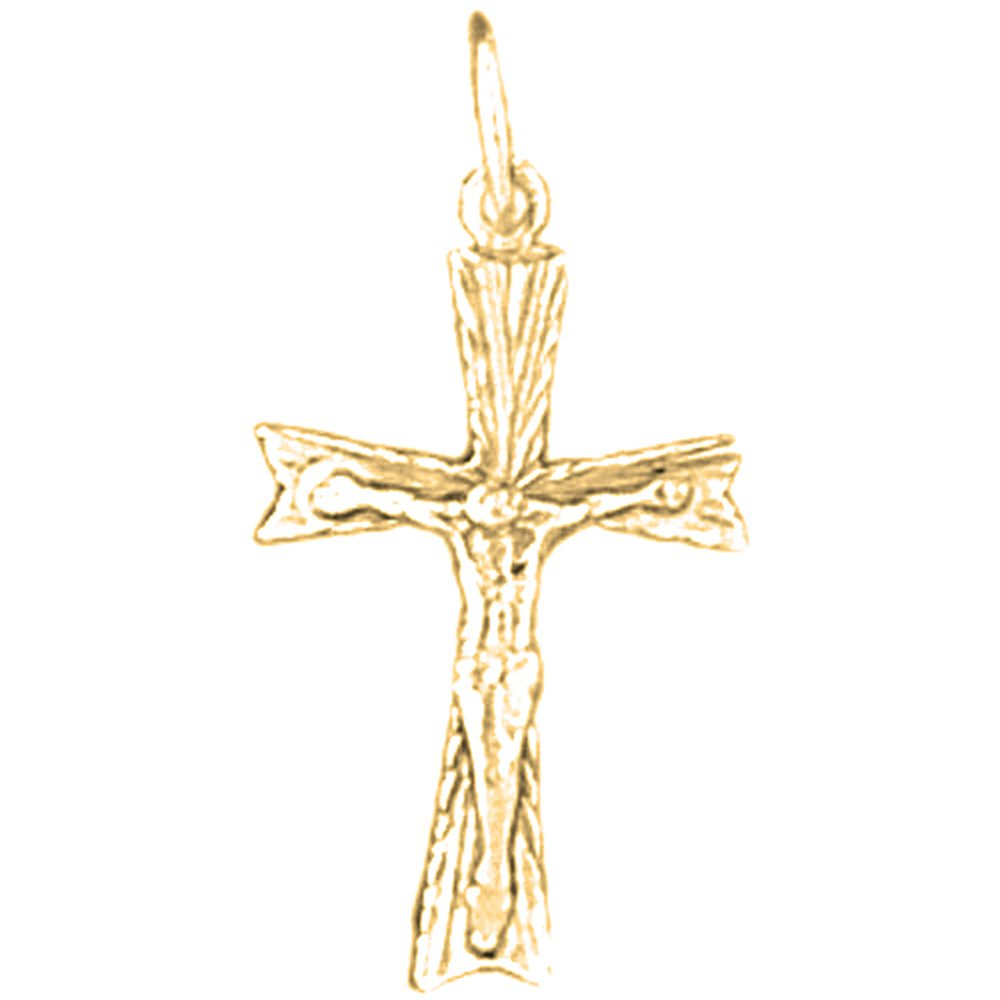 Jewels Obsession Crucifix Necklace Rhodium-plated 925 Silver Latin Crucifix Pendant with 16 Necklace