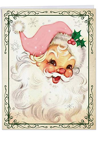 Large 'Pink Kringle' Merry Christmas Card with Envelope 8.5 x 11 Inch - Vintage Pink Santa Holiday Greeting Card - Stationery Xmas Gift J6695CXSG