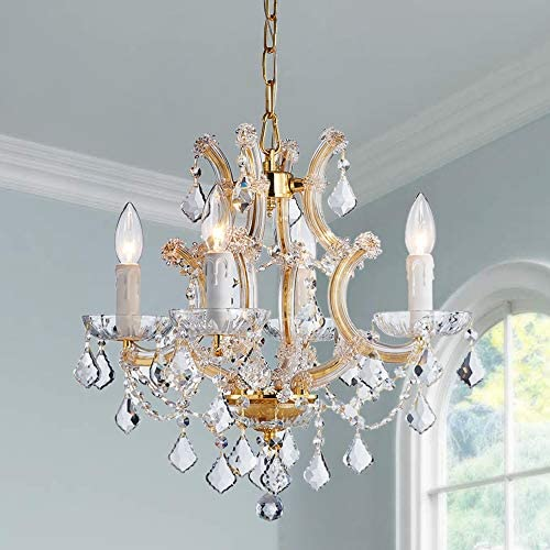 Saint Mossi Crystal Maria Therese Gold Chandelier Lighting 4 Lights H17 W18