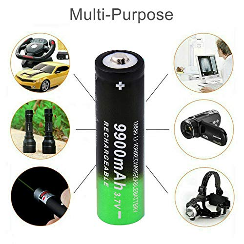 4 Pack Button Top 9900mAh 3.7V Rechargeable Cell for 18650 Flashlight