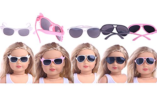 5 Pcs Doll Sunglass for American Girl Dolls - 18 Inch Doll Sunglasses