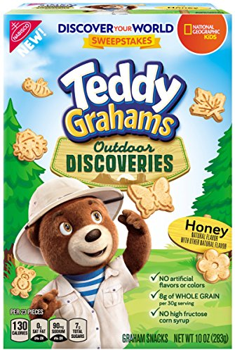 Butterfly Cookies - Teddy Grahams Outdoor Discoveries Honey Graham Snacks, 10 Ounce Box