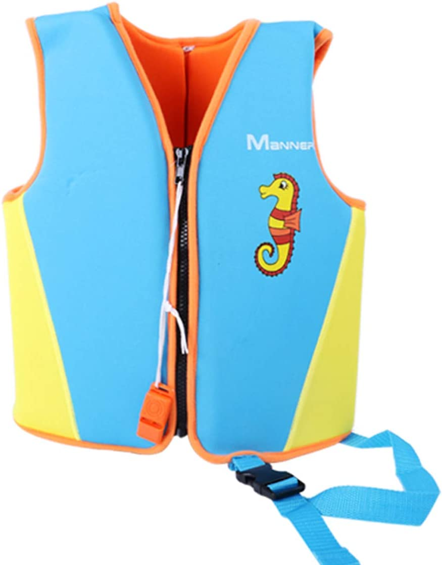 Eleoption 子供用ライフベスト スイムフロートジャケット 男の子 女の子 ライフジャケット ホイッスル付き ブルー Medium