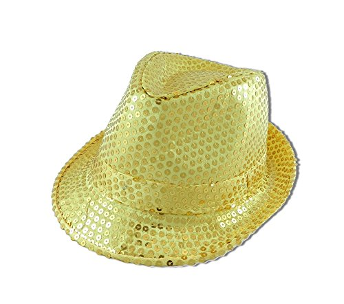 Forum Novelties Sequin Fedora Hat with Lights, Gold