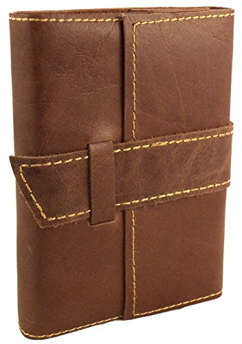 Rustic Ridge Distressed Leather Pocket Journal with Handmade Paper - Pocket Size Travel Journal (Saddle Brown) (Distressed Leather Buckle)