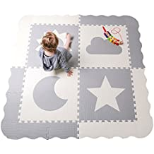 """Interlocking Foam Baby Play Mat Tiles - Non-Toxic, Extra Large Thick Floor Squares, 61"""" x 61"""" Unisex Grey & White Playroom & Nursery Mat, Safe & Protective For Infants, Toddlers, Kids"""