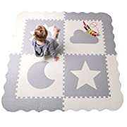 Baby Play Mat Tiles - 61  x 61  Extra Large, Non Toxic Thick Floor Mat for Kids, Grey & White Interlocking Foam Playroom & Nursery Playmat, Safe & Protective For Infants Tummy Time