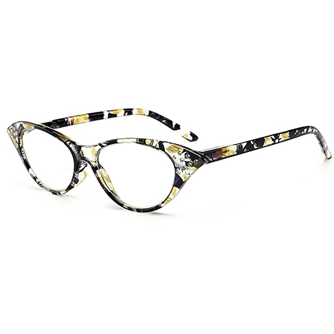 VEVESMUNDO® Lesebrillen Damen Federscharnier Blumen Lesehilfe Katzenauge Vintage Retro Qualität Klassische Vollrandbrille Kunststoff Rahmen 1.0 1.5 2.0 2.5 3.0 3.5 4.0 (Gelb Blumen, 3.0)