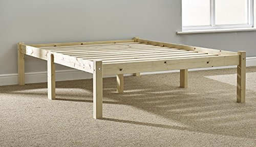 Small Double Pine Bed 4ft 130cm Studio Double Bed Wooden Frame With Extra Wide Base Slats And Centre Rail VERY STRONG