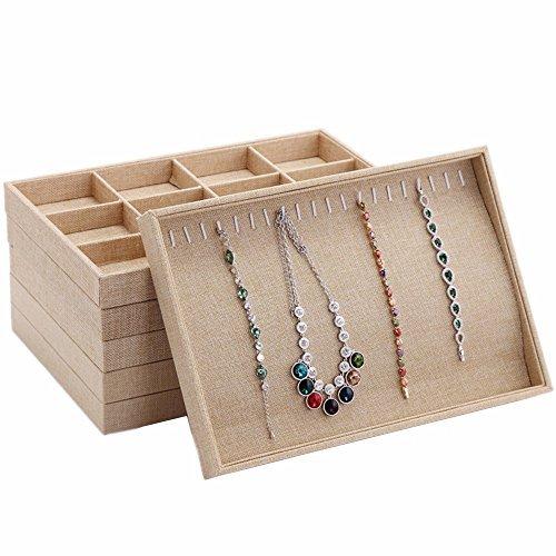MyshineStyle 20 Hooks Linen Jewelry Tray Showcase Necklacec Holder Display Storage Case Organizers,1 Piece(Necklace Jewelry Tray)