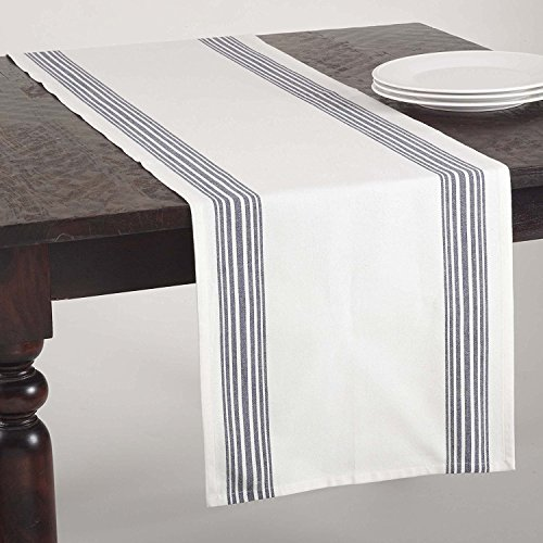 Fennco Styles Multi Ligne Printed Striped Design Table Runner - 4 Colors - 16'' X 72'' (Navy Blue) by fenncostyles.com (Image #2)