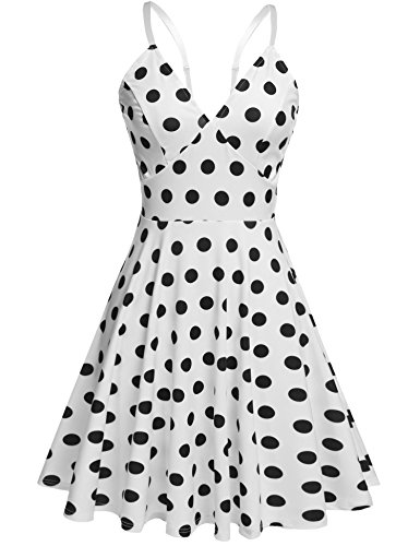 (ELESOL Womens Plus Size 1950s Vintage Polka Dot Tea Party Dress White Dots,3X)