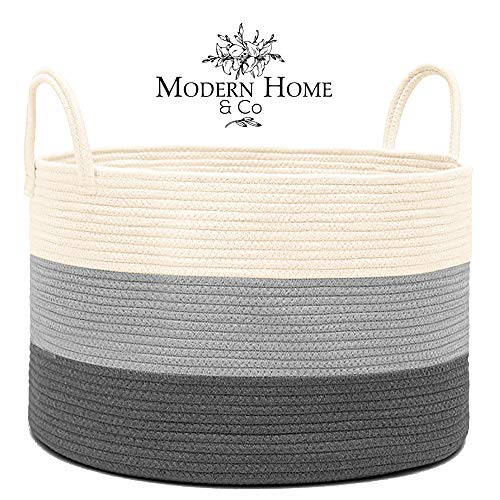 Modern Home & Co XXL Cotton Rope Basket 20X13.3 Woven Baby Laundry Baskets Storage Bins,Thread Hamper Decorative Clothes Wicker Bin With Long Handles Extra Large For Blanket,Pillows,Toy,Coiled Grey (Wicker Toy Large Box White)
