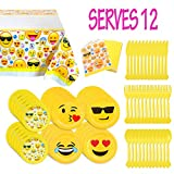Melonboat Emoji Party Supplies 81ct Birthday Decorations Kit, Tablecloth, Paper Plates, Napkins, Happy Birthday Bulk Pack Serves 12