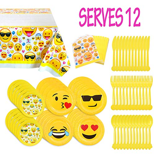 Melonboat Emoji Party Supplies 81ct Birthday Decorations Kit Tablecloth Paper Plates Napkins