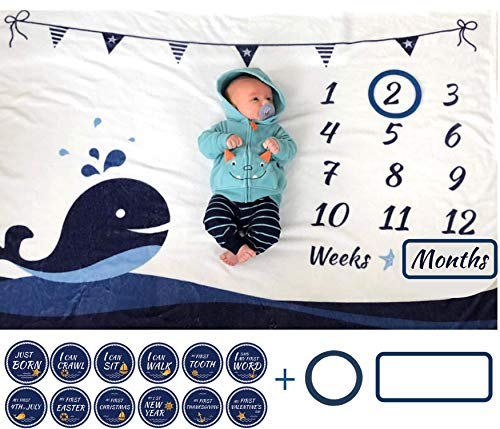 """ELLO HOME Baby Monthly Milestone Blanket with 12 Stickers, Large 60""""x40"""" Infant Month Blankets Boy 