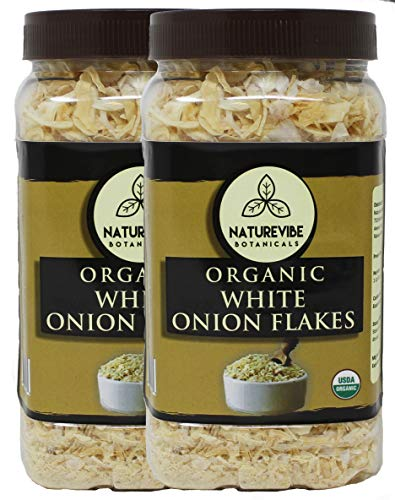 Naturevibe Botanicals Organic Onion Flakes (2lbs) (2 Pack of 1lbs each), Raw, Gluten-Free & Non-GMO | Allium Cepa | Add to Dry Dishes & Salads