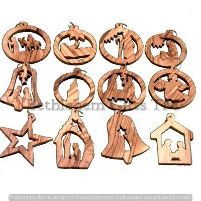 *Limited Edition* 12 Olive Wood Christmas Ornaments by Made in Bethlehem