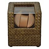 KAIHE-BOX New PU Leather Single Automatic Wrist Watch Winder Display Box Case ,1 Watch Rotator ,weave khaki + Brown , brown