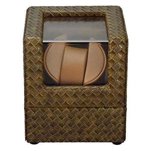 KAIHE-BOX New PU Leather Single Automatic Wrist Watch Winder Display Box Case ,1 Watch Rotator ,weave khaki + Brown , brown