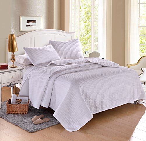 "KING WHITE Solid color Quilted Bedspread Coverlet (96""x102"") +2 Standard shams (20""x26"")Hypoallergenic Overfilled Bedcover for homes,hotels/motels, Airbnb, rentals polyester filling 120gsm -5.22lbs"
